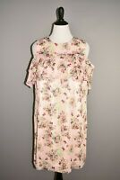 TAHARI ASL NEW $128 Pink Floral Chiffon Ruffle Cold Shoulder Dress Size 14