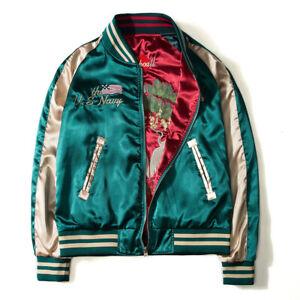 Japan Yokosuka Embroidery Jacket Men Vintage Baseball Uniform Both Sides Jackets