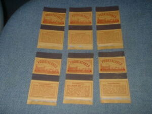 6 X MATCHBOX LABEL SKILLETS FROM SOUTH AFRICA VOORTREKKER RED PRINT