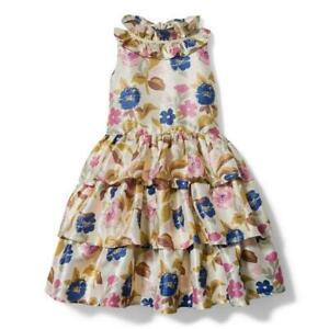 Janie & Jack Girl's Rachel Zoe Metallic Gold Floral Tiered Dress NWT Sz. 5