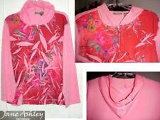 Sz 1X Jane Ashley Jacket  Hood Zippers Fuchsia Floral Terry NWT 1X