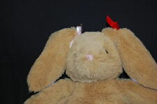 """Brown Bunny Rabbit Bows Pink Red Plush 18"""" Toy Lovey Build a Bear Workshop BAB"""