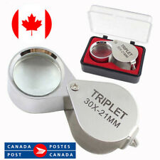 Jewelers Magnifying Loupe 30x Jewelry Magnifier Hand Lens Glass + Carrying Box