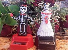 2PC Bride - Groom Dia De Los Muertos Solar Power Dancing Bobble GIFT Toys Mexico