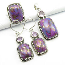 925 Silver Real MOHAVE TURQUOISE & AMETHYST Pendant Earrings Ring Sz 7.25 SET