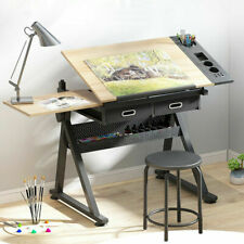 More details for adjustable drafting table art craft drawing board with stool drawers work tables