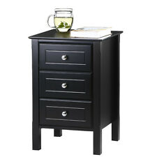 Wooden Accent End Table Nightstand Living Room Furniture Black NEW