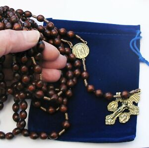 15 Decade Large Corded wood Holy Face/ Pardon Rosary