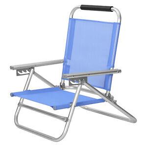 Strandstuhl Klappstuhl tragbarer mit Armlehnen Outdoor Stuhl verstellbar GCB65BU