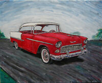 Chevy Belair red Chevrolet 1955 classic car oil painting 16x20 original Crowell