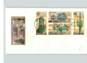 CACTUS, Desert Plants, 4 different stamps on FDC; Saguaro, Barrel, Beavertail &