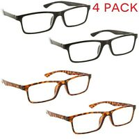 4 Pack Reading Glasses Clear Lens Rectangle Readers for Men and Women
