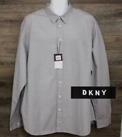 NEW DKNY Men's Gray Dot Pattern Cotton Long Sleeve Button Designer Shirt 2XL XXL