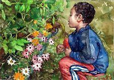 "Original art ""Grandma's Garden'"" by Qi Debrah,Watercolor,Children,Size10""x7"",US"