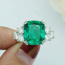 2.3Ct 7*8mm Lab Created Colombian Emerald Halo Engagement Ring 14K White Gold