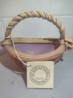 Ellen Evans Terrafirma Ribbon & Bow Semi Glazed Pottery Basket 1988 Signed
