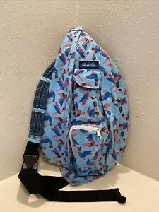 KAVU Rope Sling Canvas Crossbody/Shoulder Bag. Paper Flock Pattern. Full Size!!