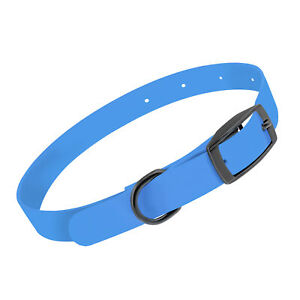 MiMu All Weather Dog Collar, Small - Blue Plastic Dog Collar with Prong Buckle