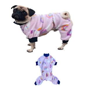 Small Dog Pyjamas Fleece Pink Rainbow S M L XL - Warm Pet Pjs Pajamas Sleepwear