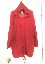 Baja Blue Hooded Swimsuit COVER-UP Red Jacket Netted Long Sleeve Womens Sz Large