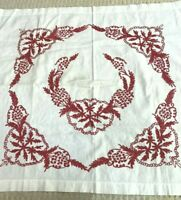 Vintage White Cotton Linen Red Work Cloth Pillow Cover Table Topper Embroidery