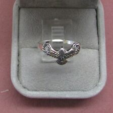 Sterling Silver ring narrow band Bird Hawk Eagle Falcon?? 925  Size 8    b2
