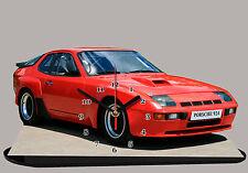 MODEL CARS, PORSCHE 924-04, car passenger,11,8x 7,8 inches  with Clock