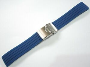 NEW 22MM BLUE RUBBER DEPLOYANT STRAP FITS SEIKO SKX007/7002/6309 DIVER'S WATCH