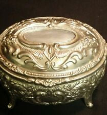 Ashley Silver Metal Plated Jewelry Box Trinket Antiqued