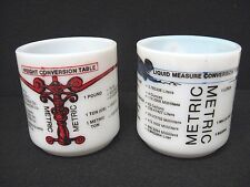 RARE* Lot 2 vtg milk glass mugs Liquid Measure Weight Conversion Table no marks