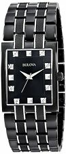 New Bulova 98D111 Two Tone Black Ion  Stainless Steel Diamond Dial Men's Watch