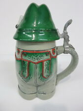 Figural Character Pottery Beer Stein Lederhosen Hat Leather Pants Ледерхозе