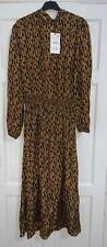 Zara vestido largo estampado ocre Cuello Alto Con Detalle SMOCKED CINTURA Talla L BNWT
