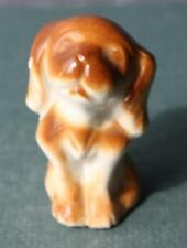 Adorable Vintage Brown and White Puppy Dog Figurine-Unmarked-Porcela in-Sweet