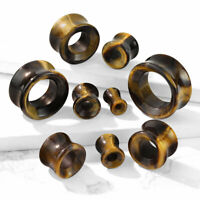 PAIR Tiger Eye Organic Stone Tunnels Double Flare Plugs Earlets Gauges