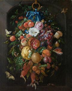Festoon of Fruit and Flowers by Jan Davidsz de Heem 75cm x 60cm Canvas Print