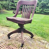 Captains Desk Chair Bankers Tilt Swivel Wood Vintage Antique w Wheels 19-23""