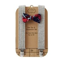 Mud Pie H7 Baby Boy up to 5T Adjustable Bow Tie & Tweed Suspender Set 1582151