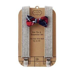 Mud Pie H7 Baby Boy up to 5T Adjustable Bow Tie & Tweed Suspender Set 1582151