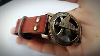 Nautical Brass Compass Sun Wrist Watch W/Leather Strap Maritime Beautiful Gift.