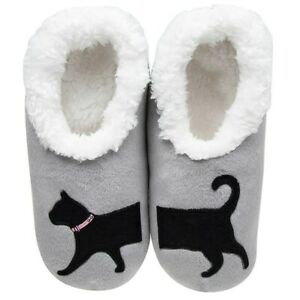 Snoozies  cosy feet coverings Style Pairables Black Cat Colour Grey size Various