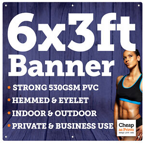 6ft x 3ft Vinyl Banner   Personalised with Custom Printed Advertising Messages