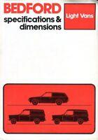Bedford Light Vans Specifications & Dimensions HA Chevette UK market brochure