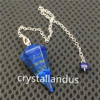 1x Natural Lapis lazuli quartz Crystal pendant reiki point Dowsing Pendulum Cone