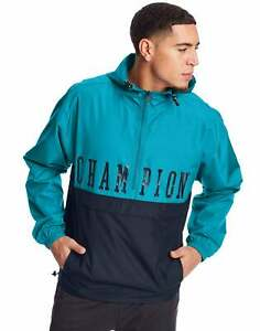 Champion Men's Packable Jacket Colorblock Block Logo Athletics 1/4 Zip Pullover