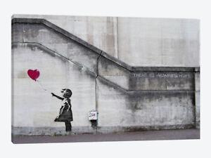 "Wall Art Banksy ""Always Hope"" Balloon Love Heart Girl Canvas Print 30""x20"" Large"