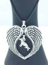 German Shepherd Dog Lovers Angel Wings Memory Leather Necklace (Clearance )
