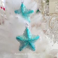 Shabby Coastal Chic Starfish Aqua Blue Glass Star Glitter Christmas Ornament NEW