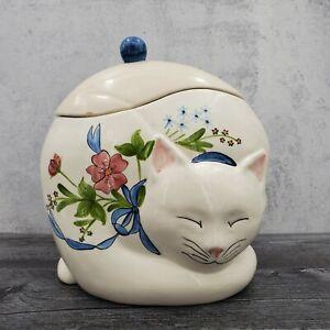 Vintage Los Angeles Potteries California Ceramic Sleeping Cat Flower Cookie Jar