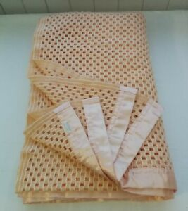 Vintage retro Peach cellular small double blanket vw camping 60s 70s